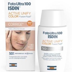 FOTO ULTRA 100 ISDIN ACTIVE UNIFY FUSION FLUID SPF 50+ CON Y SIN COLOR
